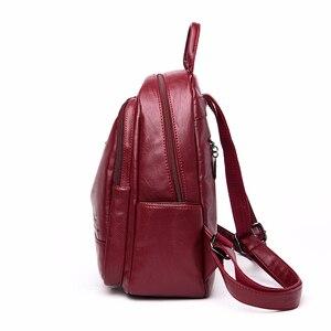 Image 3 - 2019 frauen Rucksäcke Leder Weibliche Reise Bagpack Damen Sac A Dos Schule Taschen Für Mädchen Adrette Große Kapazität Zurück pack