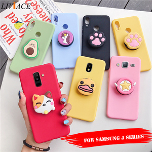 3D silicone cartoon phone holder case for samsung galaxy j8 j7 pro j6 j5 j4 a6 a8 plus 2018 2017 2016 2015 cute stand back cover