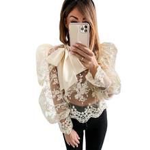 Прозрачная женская сетчатая блузка топы рубашки с круглым вырезом
