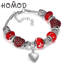 HOMOD Fashion New Design Red Crystal Beads Peach heart  Charms fit Brand Bracelet for women Original diy Gift