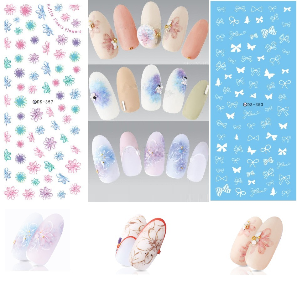 New Style Manicure Supplies Watermarking Adhesive Paper Wholesale Phototherapy Nail Jewelry Flower Stickers Black And White Smud