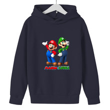 2021 Spring Autumn New Boys Sweatshirt Hoodie Mario Brothers Cartoon Characters Children's Hooded Casual Children's Clothing