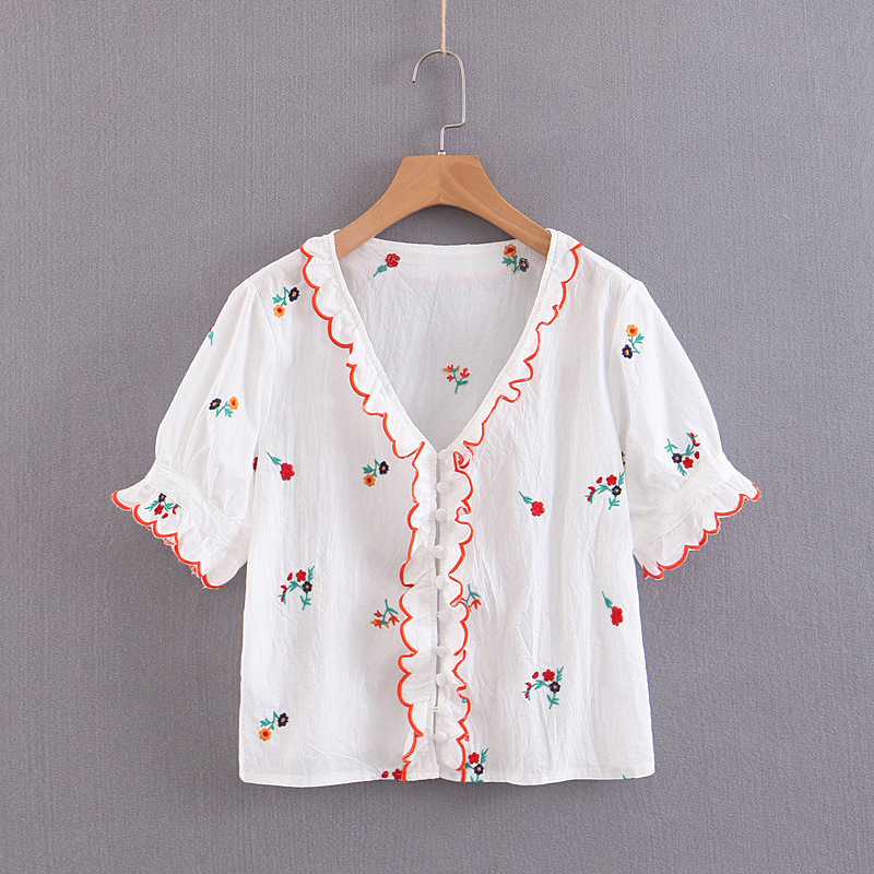 Women Ruffled Sweet Floral Embroidery V Neck Transparent Blouses Short Sleeve Shirts Female Chic Summer Tops