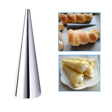1pc Conical Tube Cone Roll Moulds Stainless Steel Spiral Croissants Molds Pastry Cream Horn Cake Bread Mold