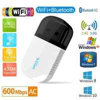 Adaptador inalámbrico Bluetooth 4,2 USB WIFI 5Ghz banda Dual 600Mbps Ethernet USB Lan Wifi Dongle receptor WIFI tarjeta de red de CA