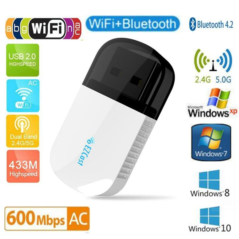 Wireless Bluetooth 4.2 USB WIFI Adapter 5Ghz Dual Band 600Mbps Ethernet USB Lan Wifi Dongle Receiver Wi-fi AC PC Network Card