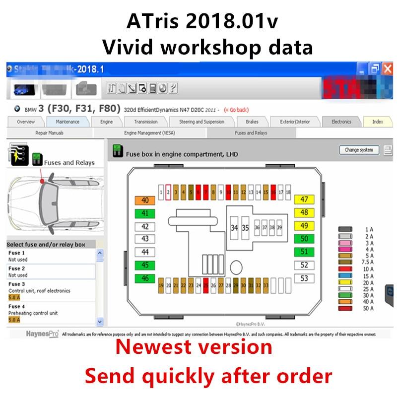 2020 chegada quente automotivo vívida oficina dados 2018.01v( (atris-technik) software de reparo europa + catálogo de peças atris vívido 2018