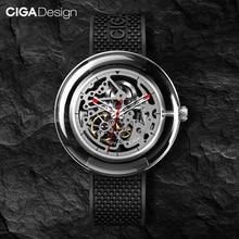 オリジナルcigaデザインt男性/女性自動機械式時計フル中空ステンレス鋼腕時計