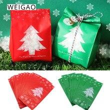 WEIGAO 60pcs Christmas Gift Bags Xmas Tree Plastic Gift Box Packing Bag New Year Kids Favor Candy Bag Christmas Navidad Party