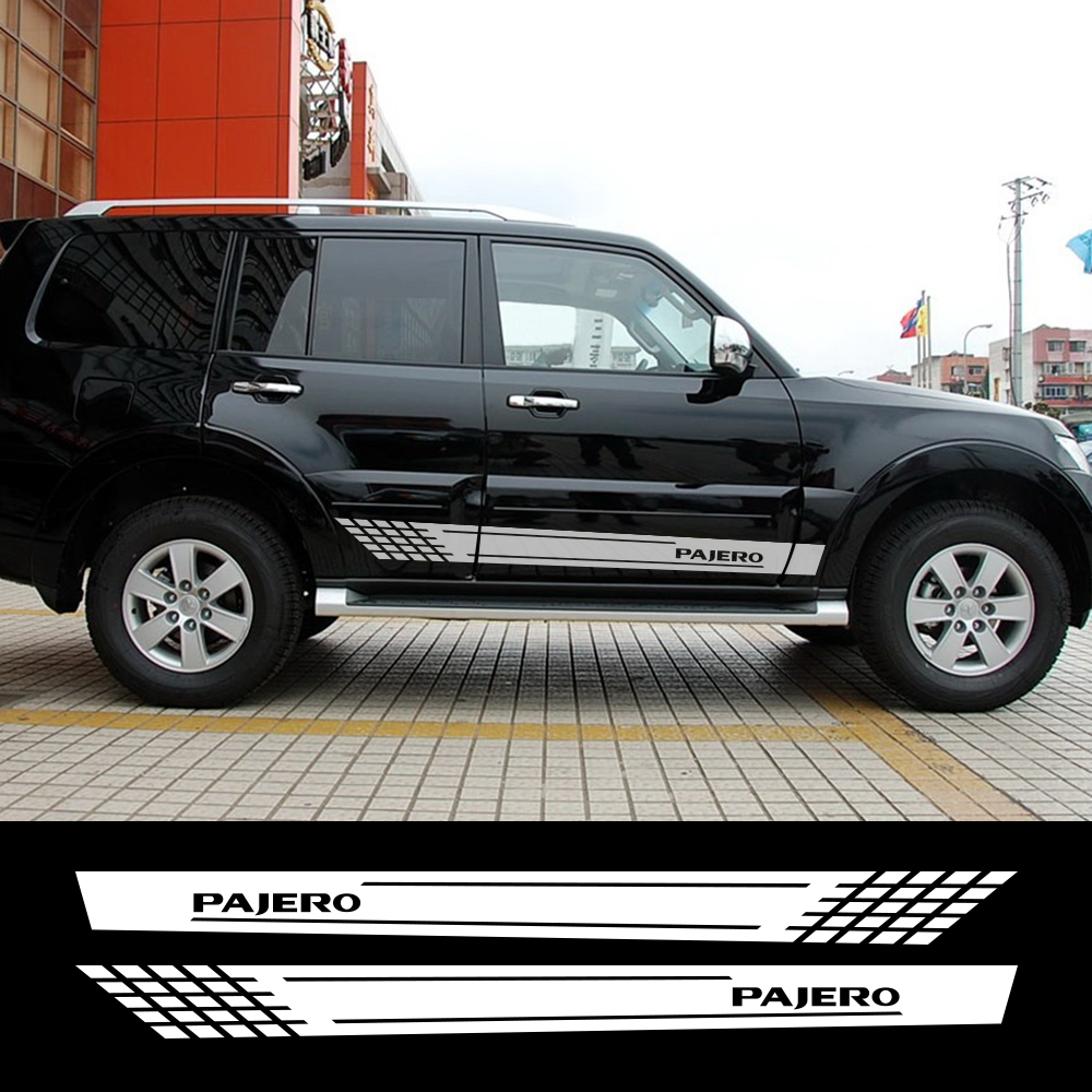 2pcs Car Long Side Stickers Vinyl Auto Racing For Mitsubishi Pajero Styling Personalized Decals Car Styling  Tuning Accessories