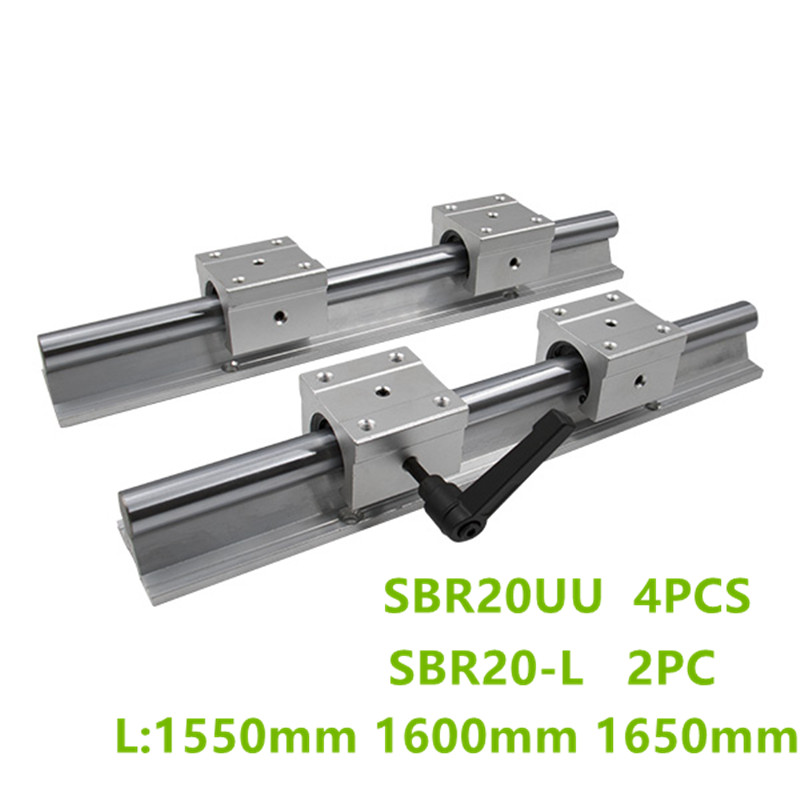 2x SBR16--1500 mm Liner Rail Aluminum prop without WC16 Liner Rod