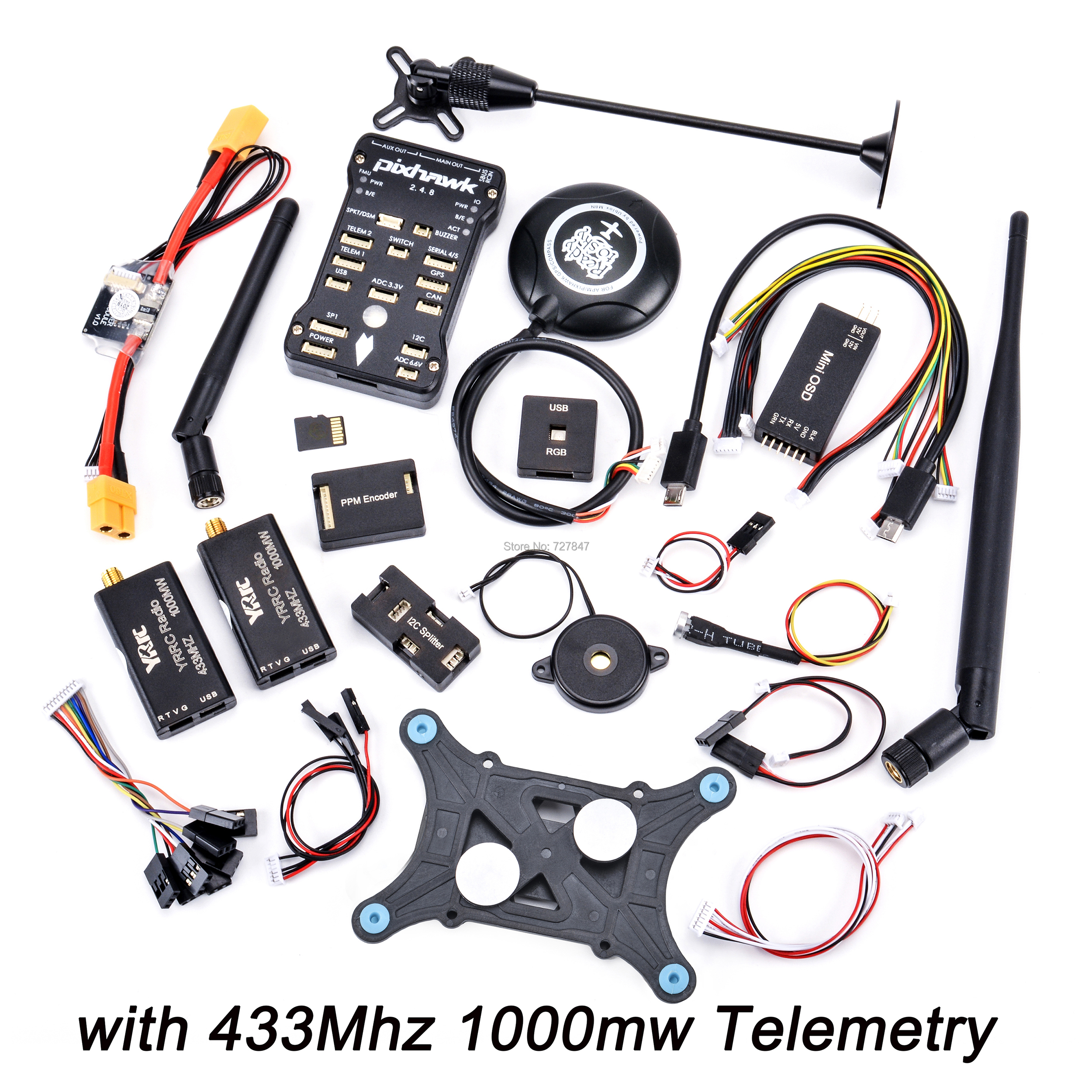 Pixhawk PX4 PIX 2.4.8 32 Bit Flight Controller + 433 / 915 Telemetry+M8N GPS+Minim OSD+PM+Safety Switch+Buzzer+PPM+I2C+ 4G SD