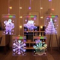 3D LED Night Light Christmas Theme String USB Power Acrylic Snow Bell Santa snowman Christmas Tree Decoration Lamp for Kids Gif