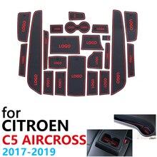 Anti Slip Coppa di Gomma Porta Cuscino Groove Zerbino per Citroen C5 Aircross 2017 2018 2019 22Pcs C5 Aircross Accessori adesivi per Auto