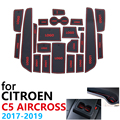 Anti Slip Rubber Cup Cushion Door Groove Mat for Citroen C5 Aircross 2017 2018 2019 22Pcs C5 Aircross Accessories Car Stickers|Car Stickers| |  -