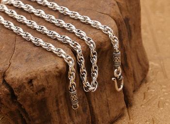 S925 sterling silver jewelry retro Thai silver unisex classic twist necklace with chain free shipping 4mm