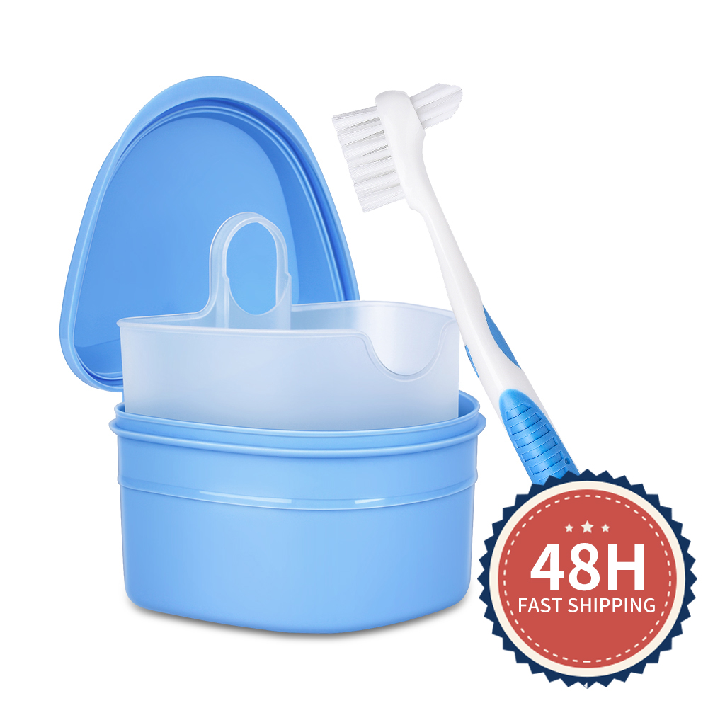 Y-Kelin Denture Box And  Brush Set  High Quality   Retainer Cleanning  Denture Case  Brush Toothbrush