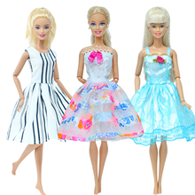 Fashion 3 Set/Lot Doll Dress White Lace Skirt Blouse Mini Gown Party Dinner Wear Clothes