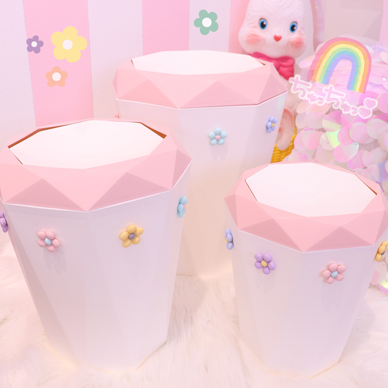 Large Capacity Pink Flower Cute Waste Bin Desktop Home Garbage Basket  Trash Can Swing Bedroom Trash