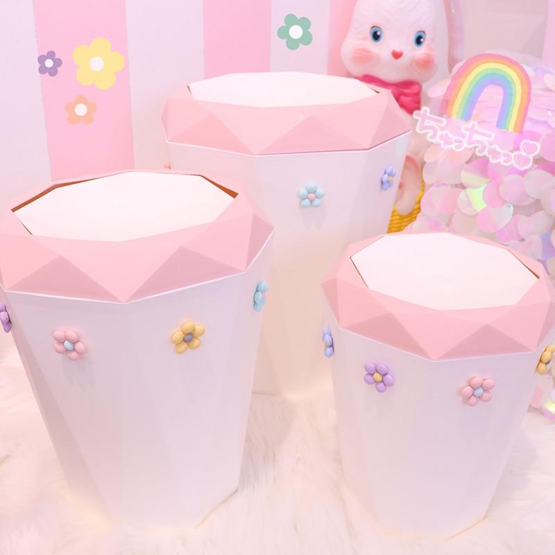 Large Capacity Pink Flower Cute Waste Bin Desktop Home Garbage Basket  Trash Can Swing Bedroom Trash