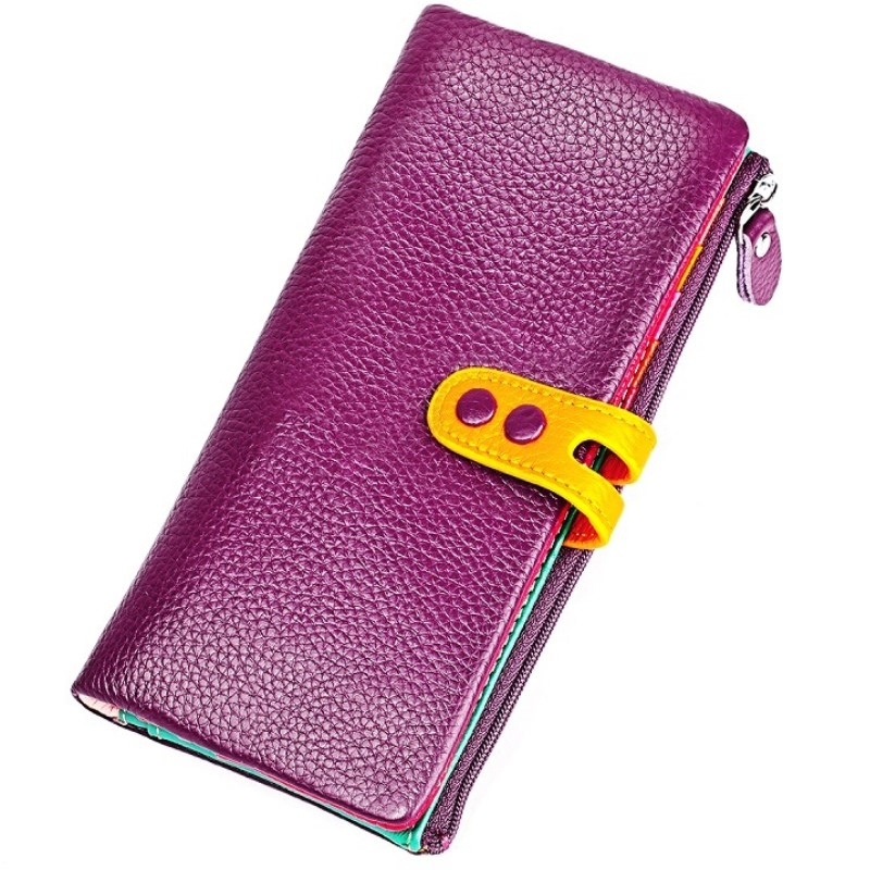 Colorful Women Wallets Large Long Wallet Fashion Top Quality Cow Leather Phone Card Holder Female Purse Zipper Wallet For Women