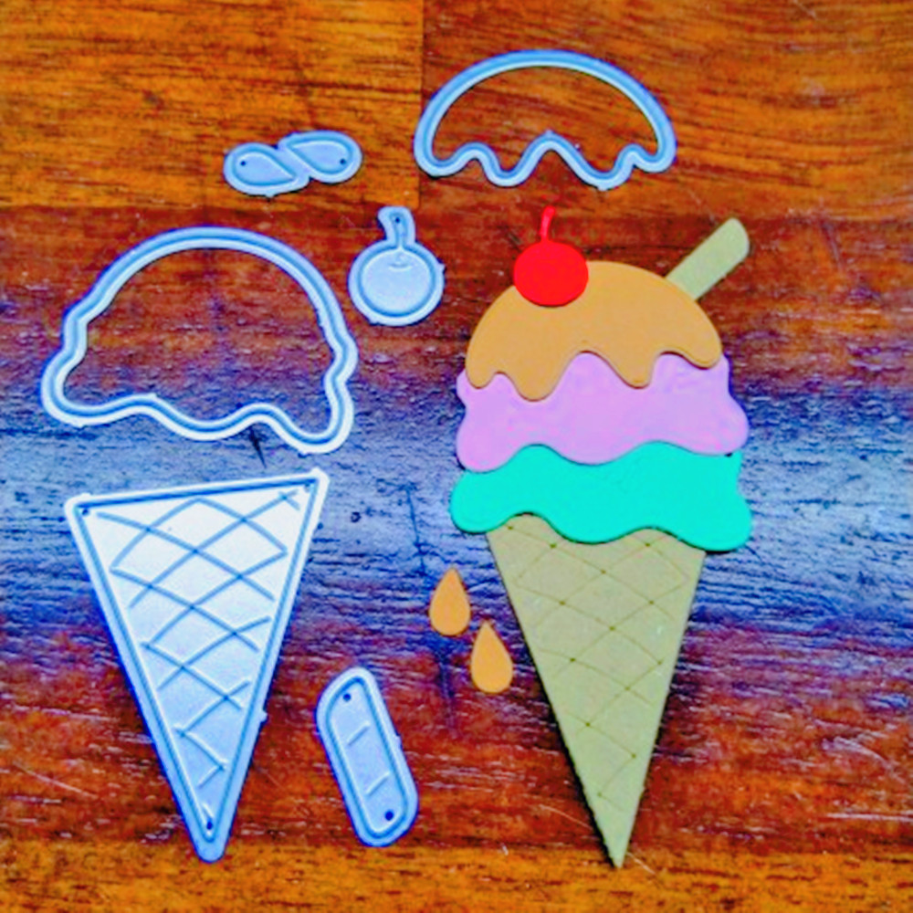 Ice Cream Metal Cutting Die Stencil Template For DIY Embossing Paper Photo Album Gift Cards Making Scrapbooking Craft New Dies
