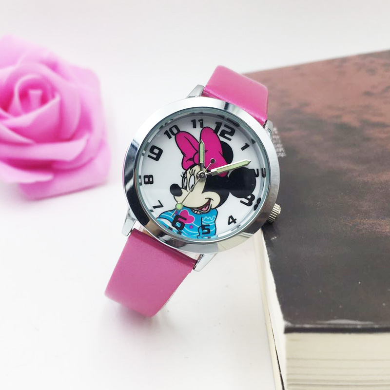 Cute Minnie Mouse Kids Girls Quartz Watch Children Boys Luminous Watches Student Leather Strap Wristwatch Waterproof Clock Reloj