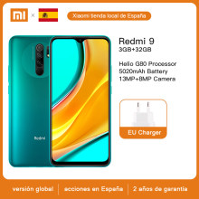 Version Global Xiaomi Redmi 9, 3GB de RAM, 32 GB de ROM, processeur Helio G80, Caméra 13.0mp + 8.0mp, écran FHD 6.53 pouces, batterie 5020mAh