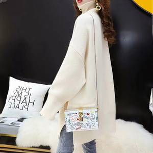 Image 5 - CHICEVER Korean Knitted Sweater Women Turtleneck Lantern Long Sleeve Oversize Pullover Sweaters Female 2020 Autumn Fashion New