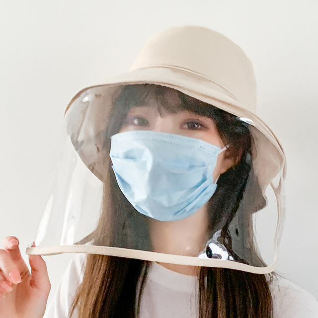 2020 Fashion Fisherman Hat with Face Shield For Women Removable Clear Full Face Shield Anti Saliva Outdoor Sun Hat Bucket Hats 2