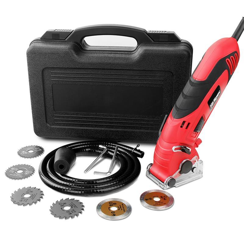 Hi-spec 400W Mini Circular Saw Muti-Function Electric Saw 6 Blades Power Tools With Depth Guide Blade Guard Dust Tube In BMC Box
