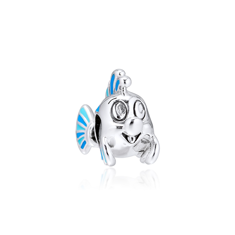 CKK Fits Pandora Bracelet The Little Mermaid Flounder Charm for Jewelry Making Charms Silver 925 Original Bead(China)