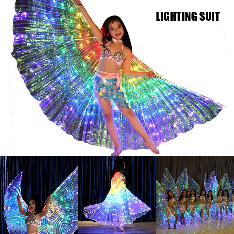 High Rainbow Wing LED Butterfly Costume Shawl Fairy Performance Clothing For Children DSM