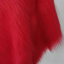 High grade 9cm long hair red faux fur fabric for winter coat,vest,cosplay stage decor free shipping 150*50cm 1piece SP2574(China)