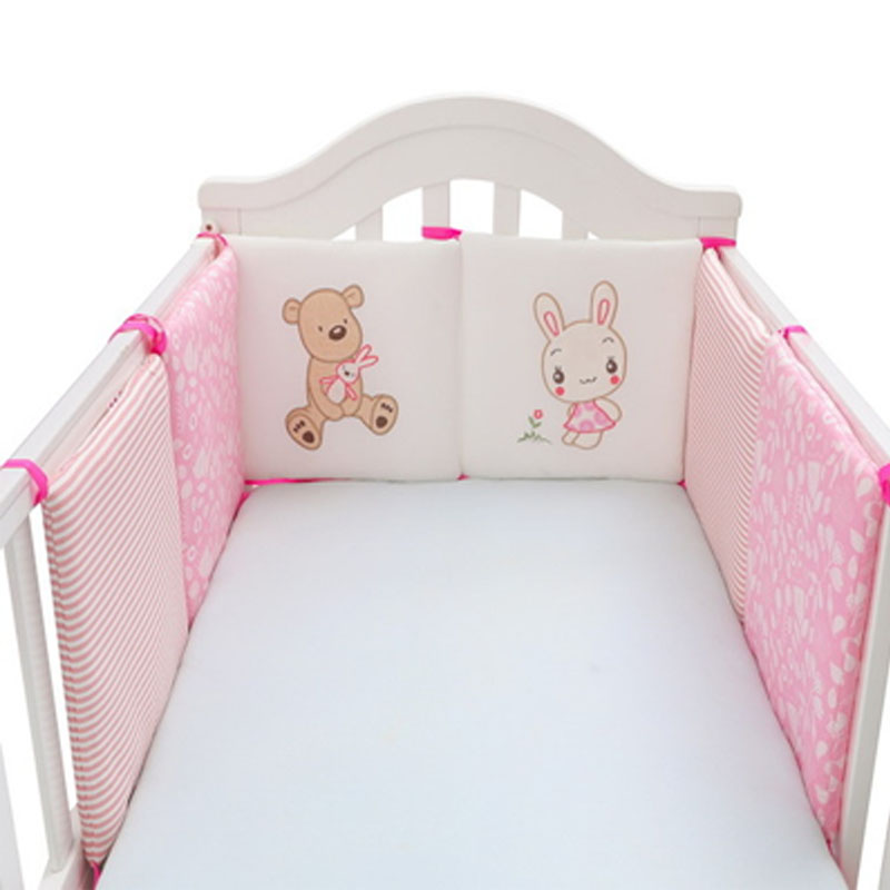 6Pcs/Set Baby Bed Crib Bumper Thick Pillow One-piece Crib Around Cushion Cot Protector Pillows Newborns Anti-collision Bumper