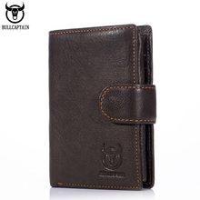 Bullcaptain rfid carteira masculina de couro curto três dobra fivela com zíper carteira carteira bolsa clip coin pocket
