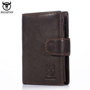 Image 1 - Cartera de cuero BULLCAPTAIN RFID para hombre, billetera corta con tres pliegues y cremallera, cartera, bolsillo para monedas con clip
