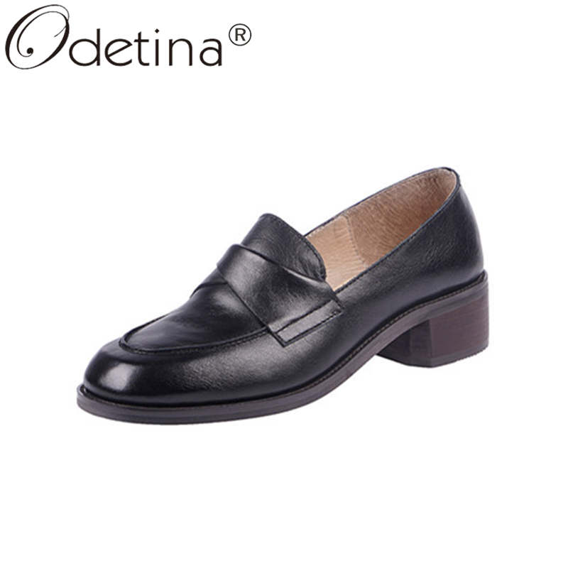Odetina Women Fashion Block Mid Heel Slip On Sewing Casual Shoes Ladies Vintage Cow Leather Non-slip Square Toe New Dress Shoes