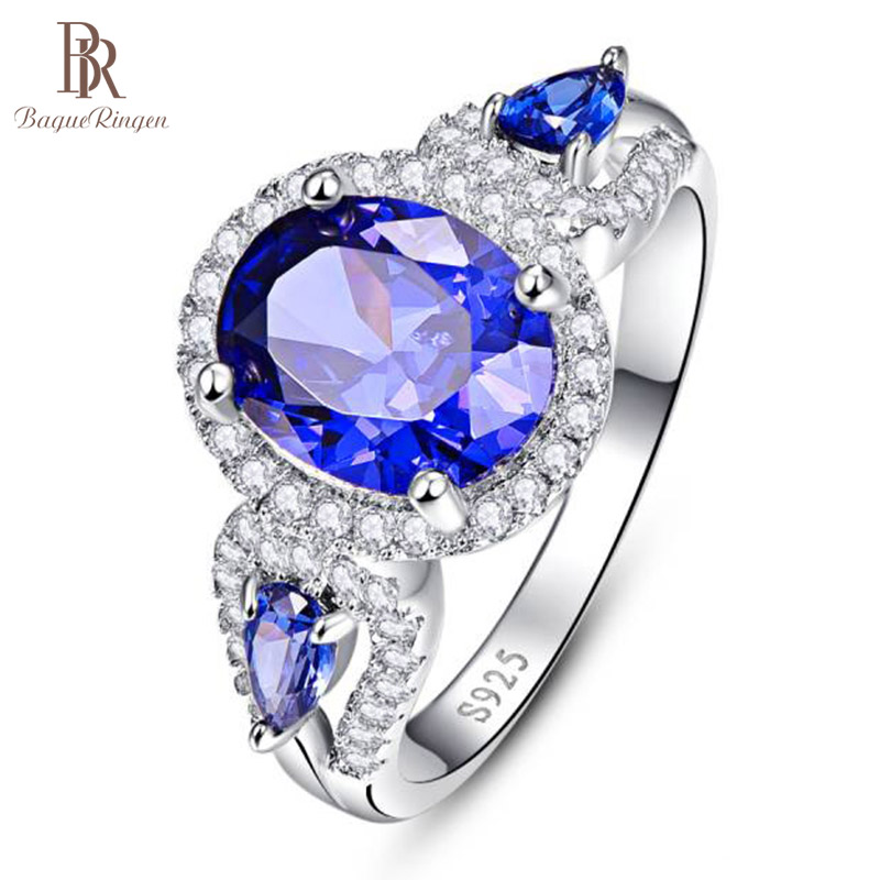 Bague Ringen Sterling Silver 925 Ring For Women Luxury Dancing Party 8*10mm Sapphire Lady Jewelry Blue Zircon Size6-10 Wholesale