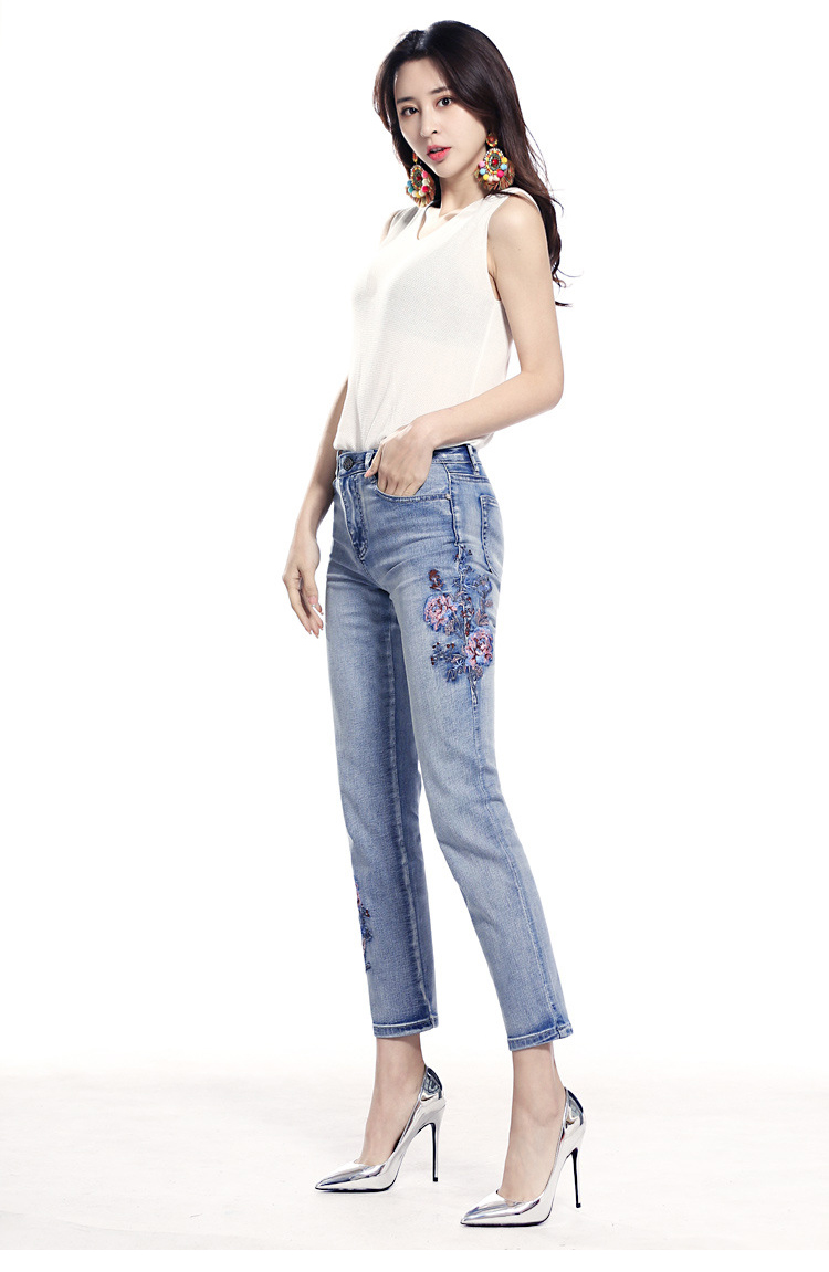 KSTUN FERZIGE high waist jeans women light blue stretch cropped pants embroidery flowers spring and summer jeans slim straight mujer 13