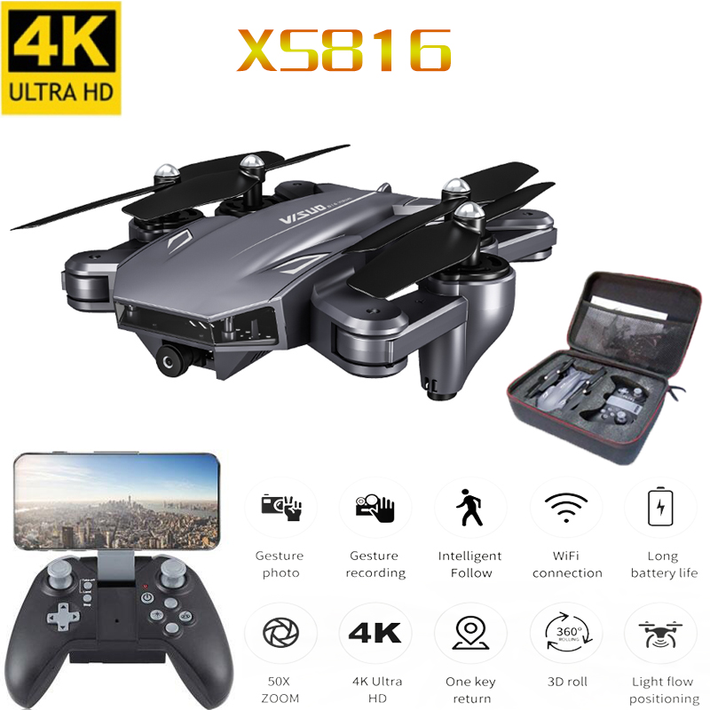XS816 RC Drone Optical Flow 4K Drone with Dual Camera Wifi FPV Drone Gesture Control Helicopter Quadcopter for Kids image