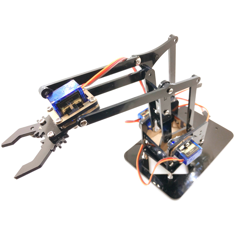 Cheap 4 Axis Acrylic Robot Arm For Arduino Robotic Gripper Claw With SG90 Servos For Rasbperry Pi DIY Project STEM Toy