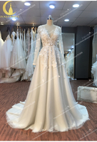 JIALINZEYI Real Rhine V Neck lace appliques A line wedding dresses 2020