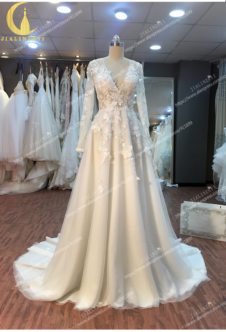 JIALINZEYI Real Rhine V Neck Lace Appliques A-line Wedding Dresses 2020