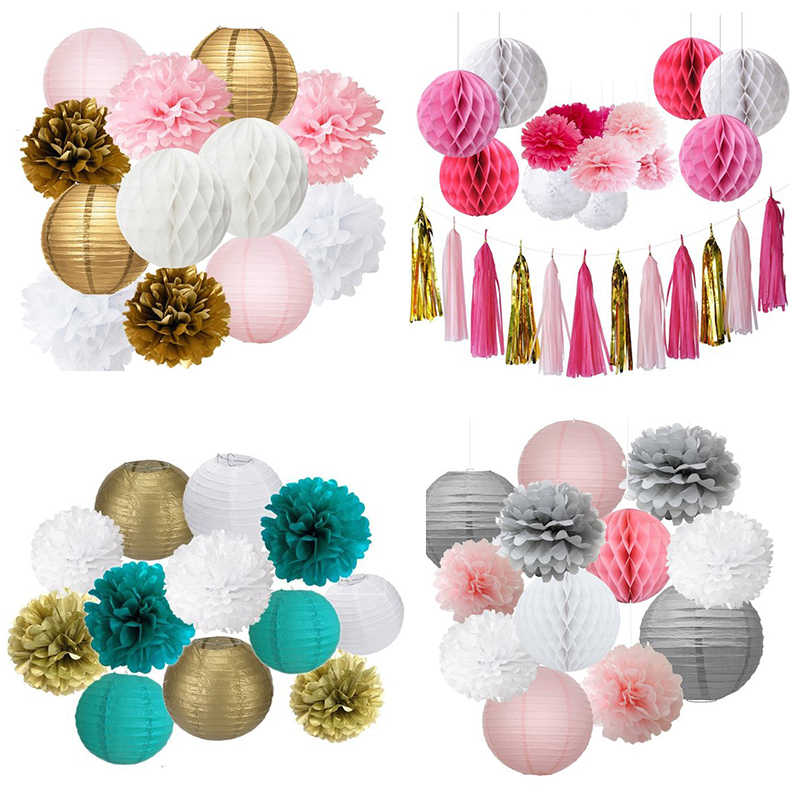 12pcs/set Mixed Paper Pom Poms Paper Honeycomb Ball Hanging Paper Lantern Wedding Birthday Decor DIY Baby Shows Party Supplies