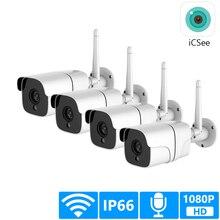 Kit de caméra de Surveillance extérieure IP Wifi 1080P, système de sécurité sans fil, carte SD, Audio 4CH