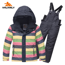 2019 High Quality Kids Ski Suit Winter Snowsuit Children Boys Girls Ski Sets Ski Jacket Pants Warm Outdoor Waterproof Windproof children skiing suits kids winter outdoor windproof clothes set raccoon thermal thickening snow jacket pants boys girls snowsuit