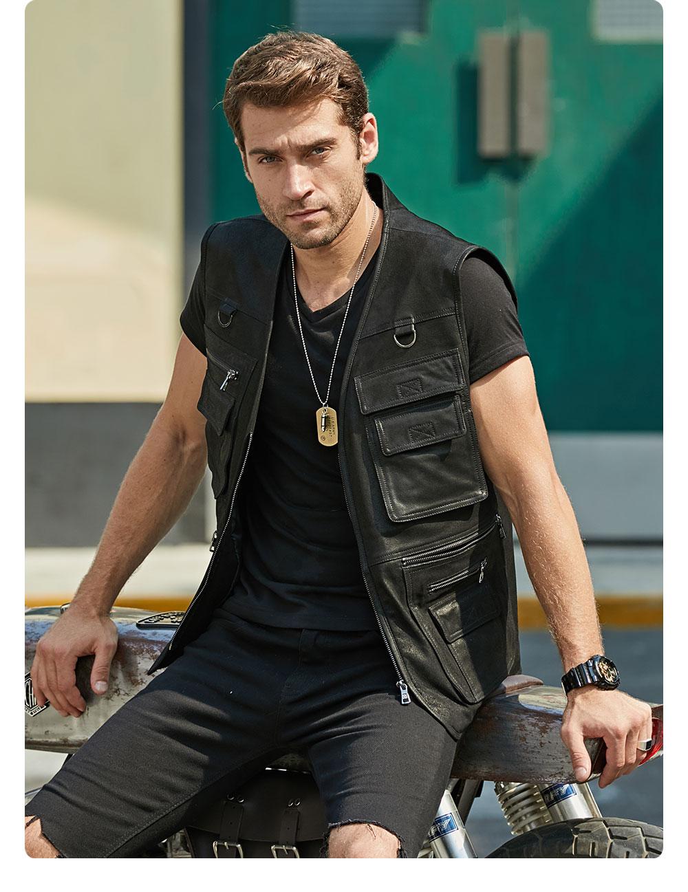 H8e0c8da00771415eaf08faf31432ac36O FLAVOR New Men's Real Leather Vest Men's Motorcycle Fishing Outdoor Travel Vests