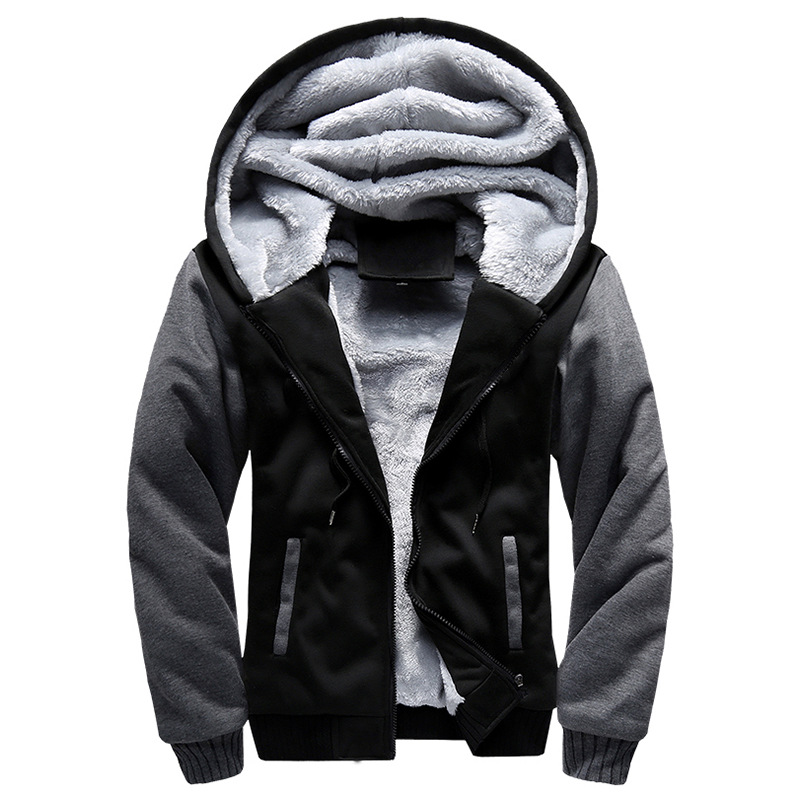 Mens Winter Jacket 2020 Winter New Sports  Thick Sweater Plus Velvet Solid Color Hooded Jacket Male Long Coat Designer Clothes