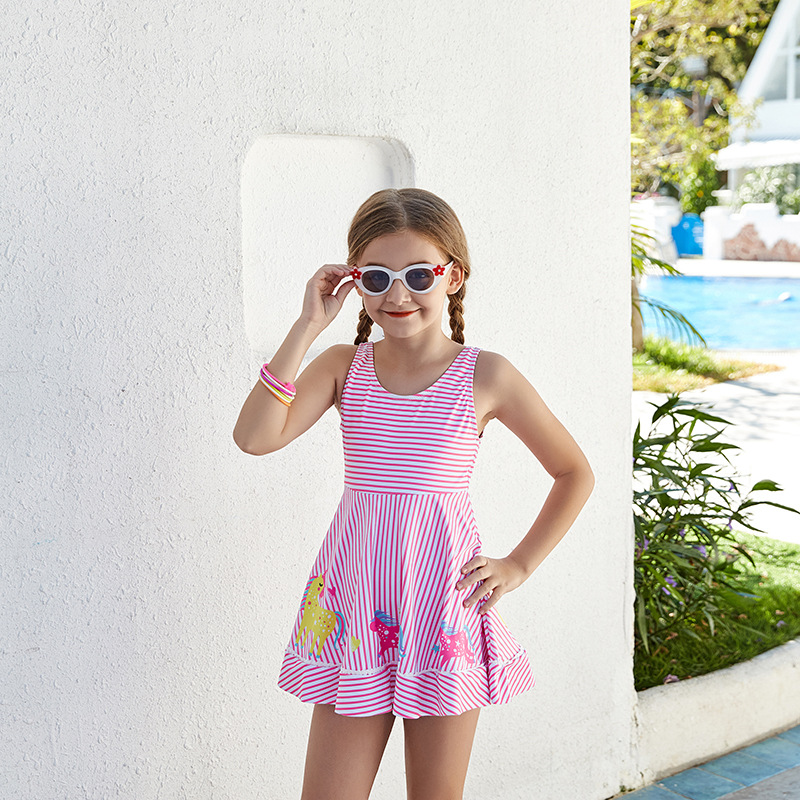 2019 New Style Miss Sunshine KID'S Swimwear Cute Cartoon My Little Striped Skirt-One-piece In GIRL'S Swimsuit